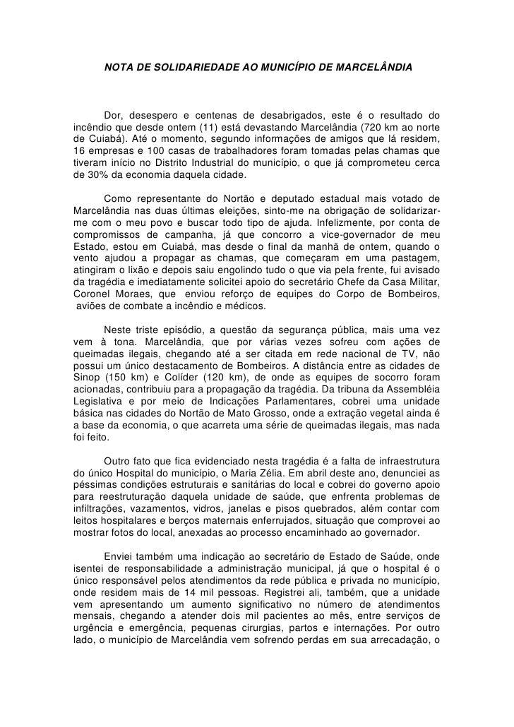 NOTA DE SOLIDARIEDADE AO MUNICÍPIO DE MARCELÂNDIA           Dor, desespero e centenas de desabrigados, este é o resultado ...