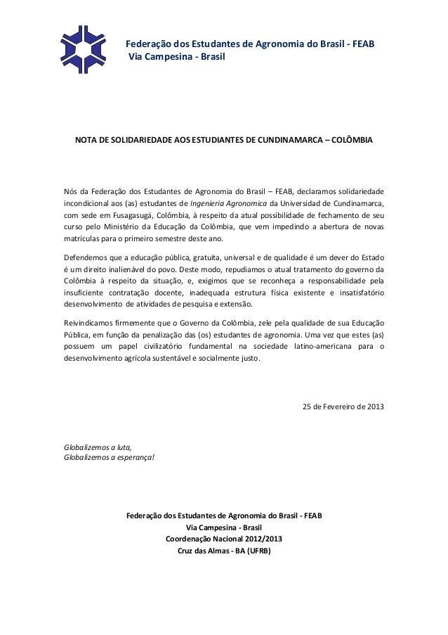 Federação dos Estudantes de Agronomia do Brasil - FEAB                 Via Campesina - Brasil   NOTA DE SOLIDARIEDADE AOS ...