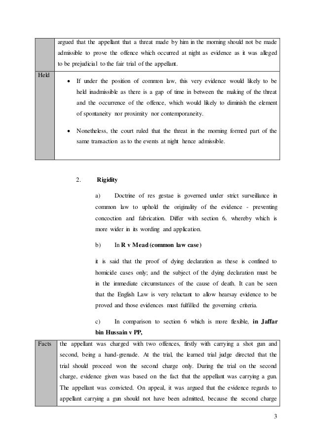 Relevancy of evidence under Section 6 of Evidence Act 1950