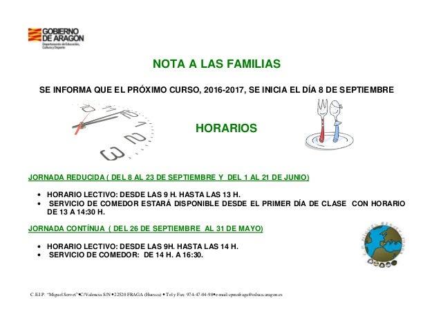 "C.E.I.P. ""Miguel Servet"" C/Valencia S/N 22520 FRAGA (Huesca) Tel y Fax: 974-47-04-98 e-mail:cpmsfraga@educa.aragon.es NOTA..."
