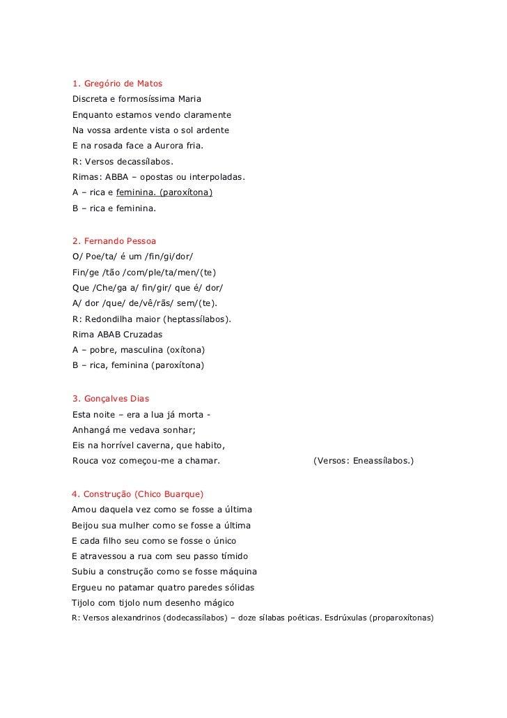 Famosos Nota iii escansão poemas YJ13