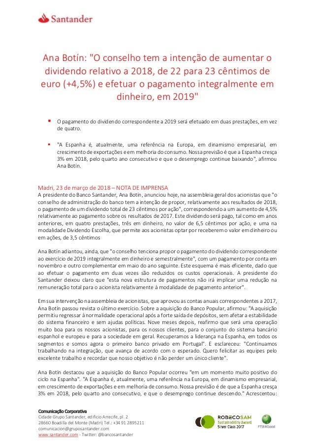 Comunicação Corporativa Cidade Grupo Santander, edificio Arrecife, pl. 2 28660 Boadilla del Monte (Madri) Tel.: +34 91 289...