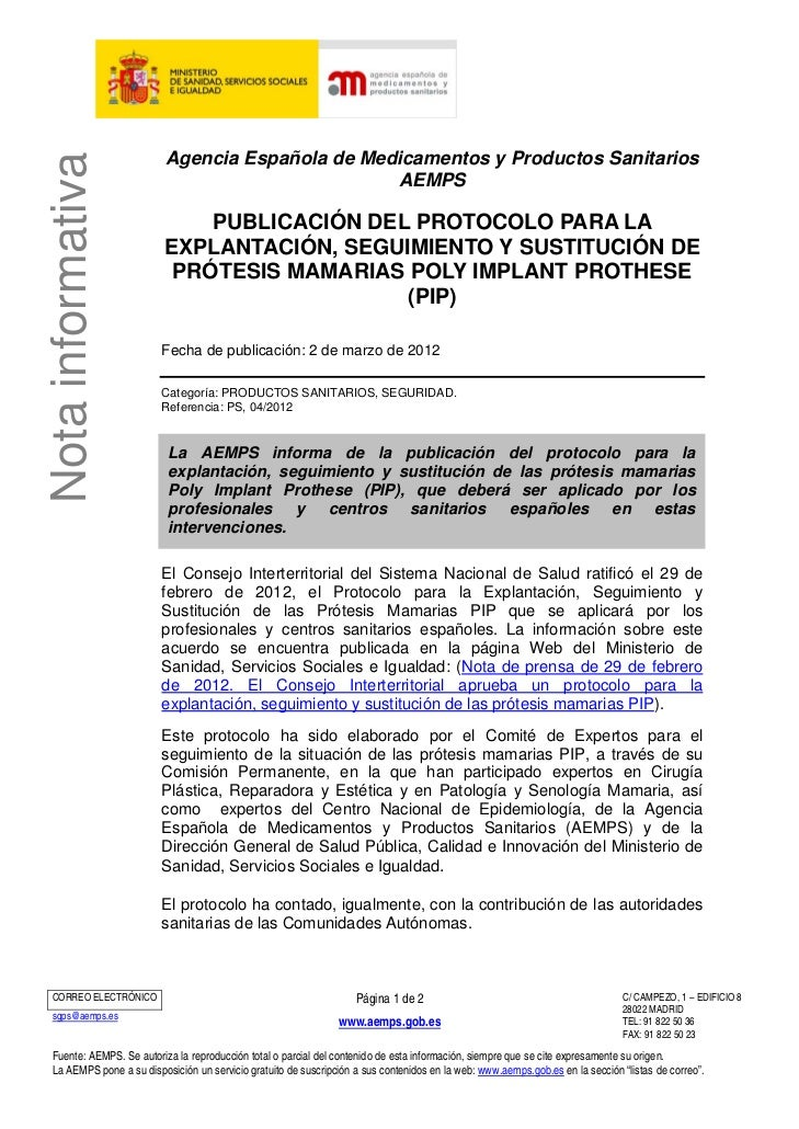 Agencia Española de Medicamentos y Productos SanitariosNota informativa                                                AEM...