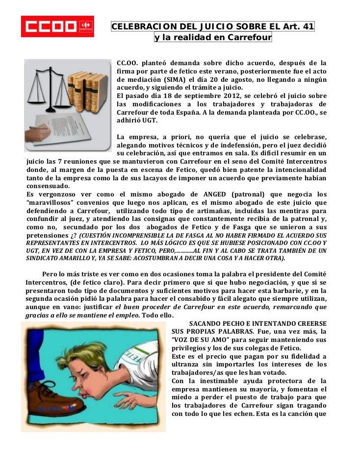 CELEBRACION DEL JUICIO SOBRE EL Art. 41                                     y la realidad en Carrefour                  ...