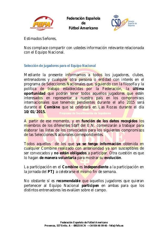 Federación Española  de  Fútbol Americano  Nos complace compartir con ustedes información relevante relacionada  con el Eq...