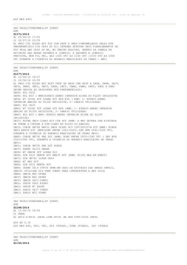 AISWEB - BOLETIM PERSONALIZADO - 01/05/2016 às 16:56:10 UTC - Total de Páginas: 49 página 11 de 49 :: IP 187.113.136.122 :...