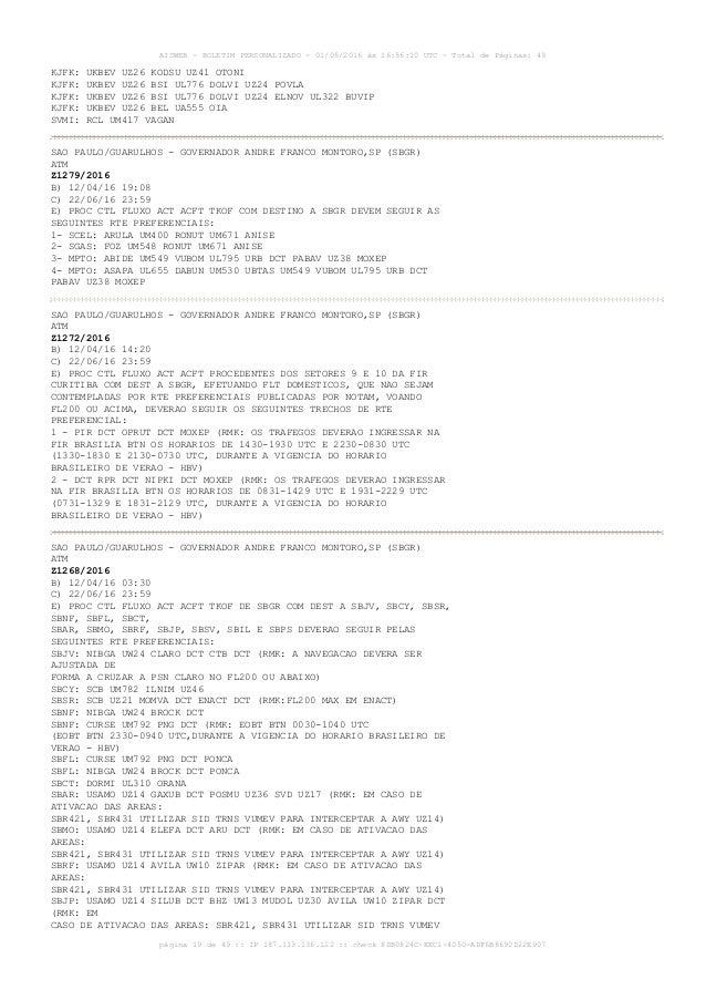 AISWEB - BOLETIM PERSONALIZADO - 01/05/2016 às 16:56:10 UTC - Total de Páginas: 49 página 19 de 49 :: IP 187.113.136.122 :...
