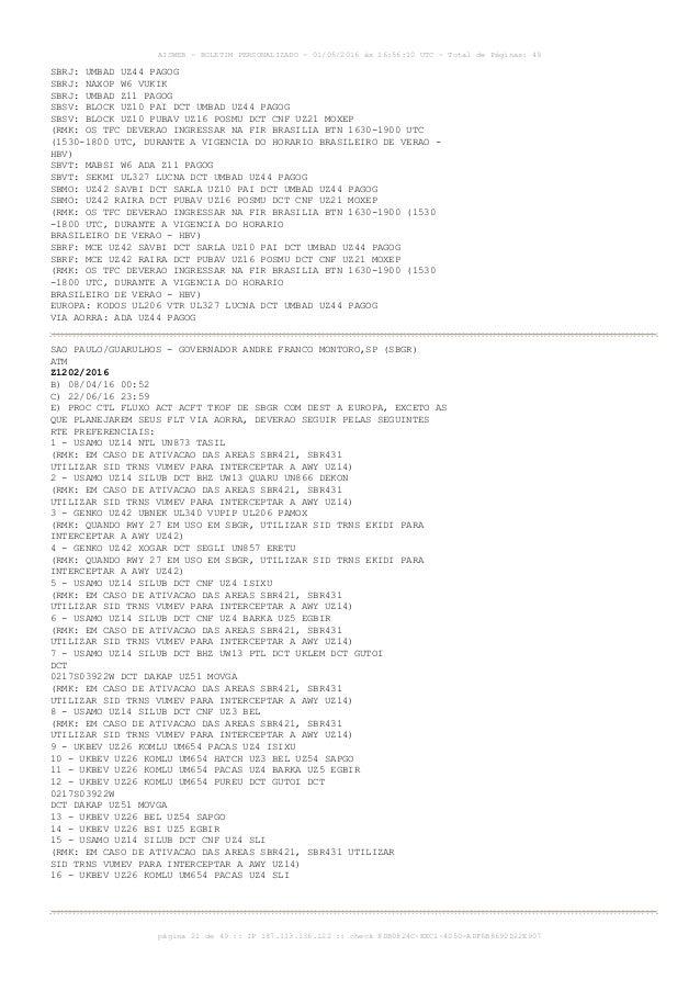 AISWEB - BOLETIM PERSONALIZADO - 01/05/2016 às 16:56:10 UTC - Total de Páginas: 49 página 21 de 49 :: IP 187.113.136.122 :...