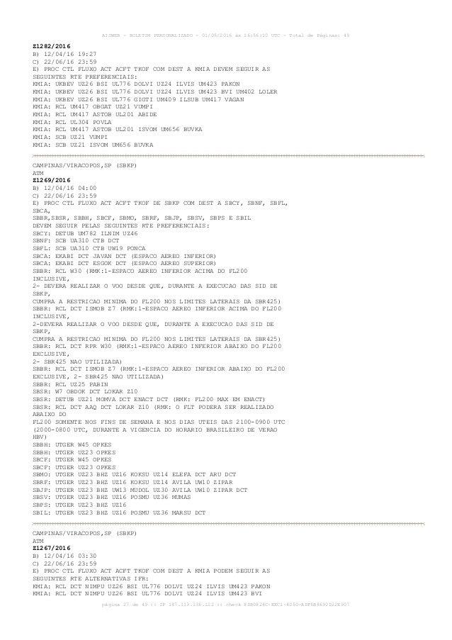AISWEB - BOLETIM PERSONALIZADO - 01/05/2016 às 16:56:10 UTC - Total de Páginas: 49 página 27 de 49 :: IP 187.113.136.122 :...
