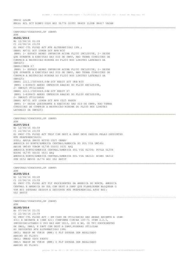 AISWEB - BOLETIM PERSONALIZADO - 01/05/2016 às 16:56:10 UTC - Total de Páginas: 49 página 28 de 49 :: IP 187.113.136.122 :...