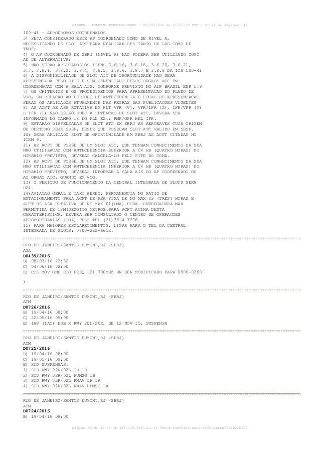 AISWEB - BOLETIM PERSONALIZADO - 01/05/2016 às 16:56:10 UTC - Total de Páginas: 49 página 31 de 49 :: IP 187.113.136.122 :...