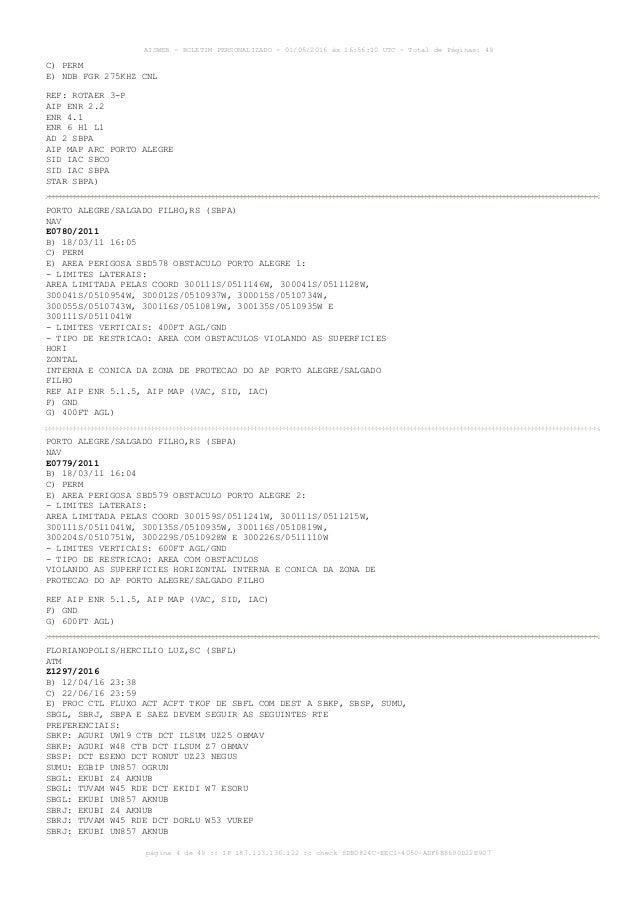 AISWEB - BOLETIM PERSONALIZADO - 01/05/2016 às 16:56:10 UTC - Total de Páginas: 49 página 4 de 49 :: IP 187.113.136.122 ::...