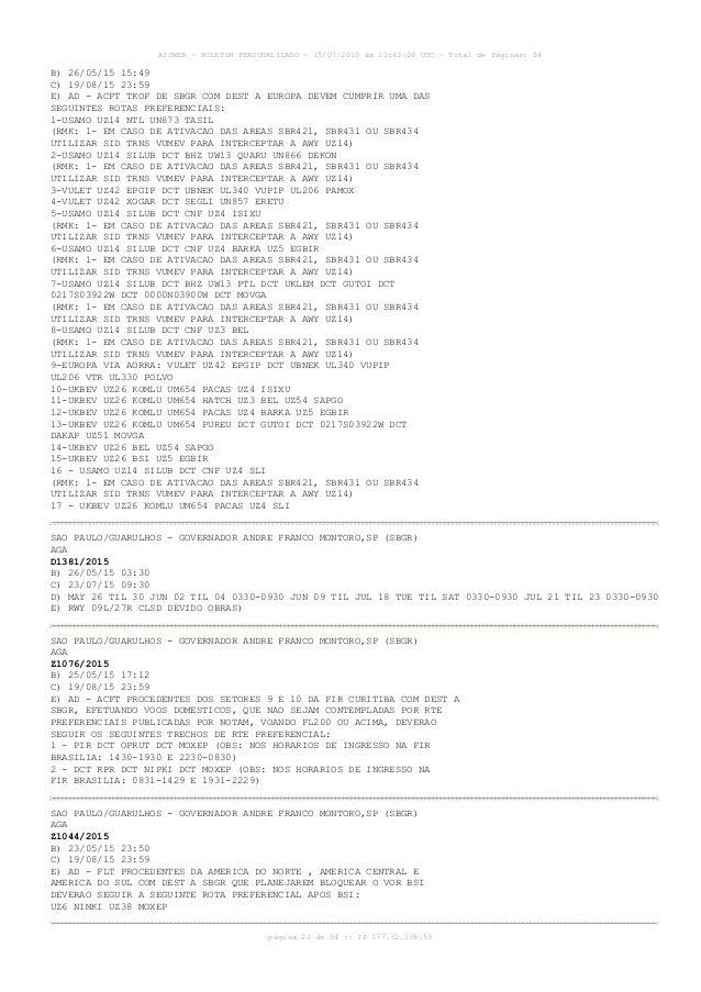 AISWEB - BOLETIM PERSONALIZADO - 15/07/2015 às 11:43:08 UTC - Total de Páginas: 54 página 21 de 54 :: IP 177.32.136.59 B) ...