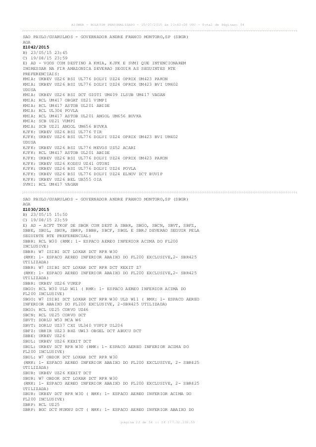 AISWEB - BOLETIM PERSONALIZADO - 15/07/2015 às 11:43:08 UTC - Total de Páginas: 54 página 22 de 54 :: IP 177.32.136.59 SAO...