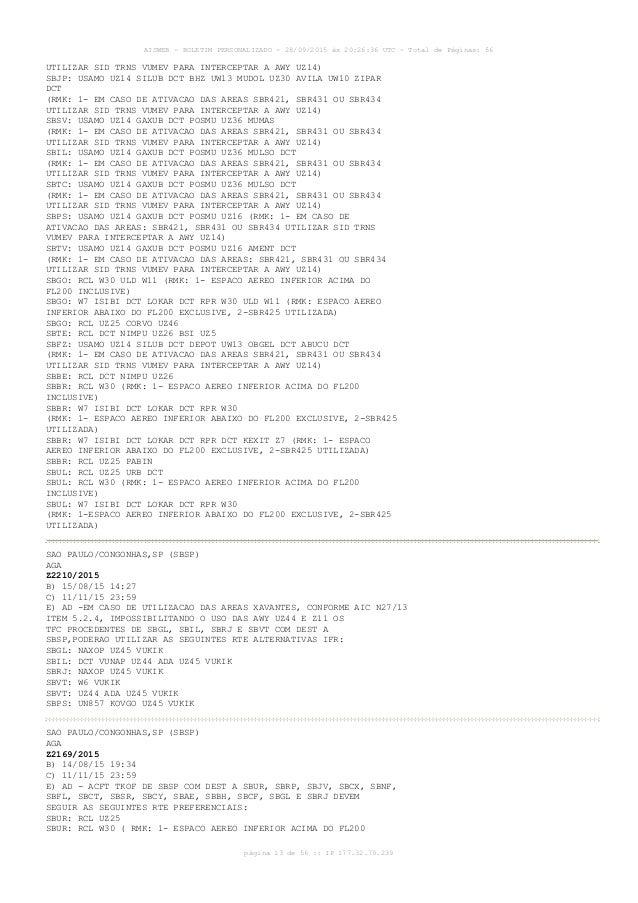 AISWEB - BOLETIM PERSONALIZADO - 28/09/2015 às 20:26:36 UTC - Total de Páginas: 56 página 13 de 56 :: IP 177.32.79.239 UTI...
