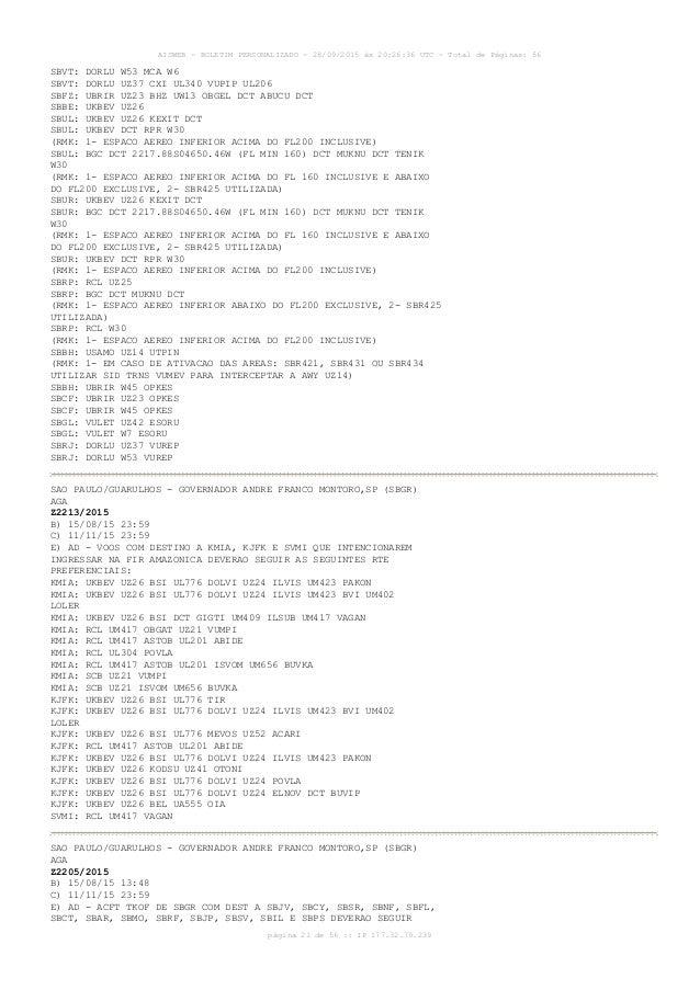 AISWEB - BOLETIM PERSONALIZADO - 28/09/2015 às 20:26:36 UTC - Total de Páginas: 56 página 21 de 56 :: IP 177.32.79.239 SBV...