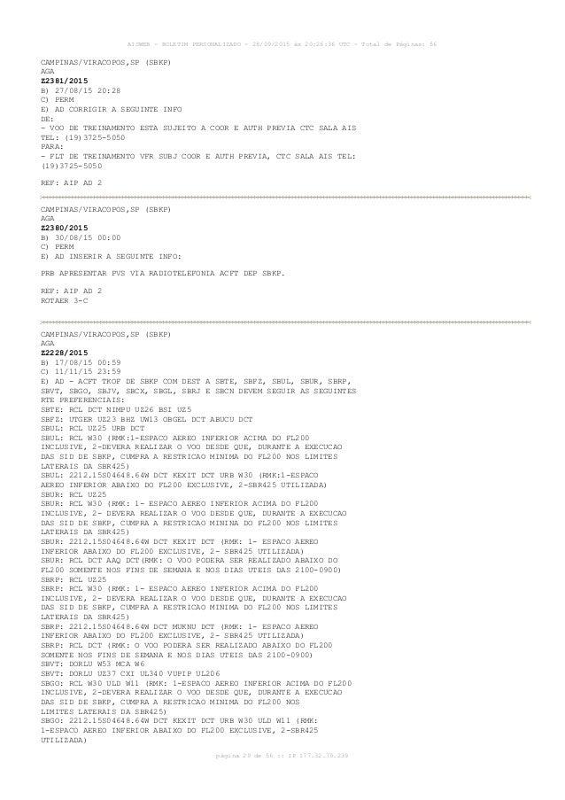 AISWEB - BOLETIM PERSONALIZADO - 28/09/2015 às 20:26:36 UTC - Total de Páginas: 56 página 29 de 56 :: IP 177.32.79.239 CAM...