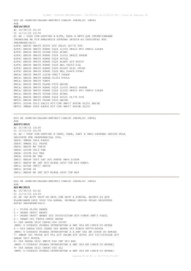 AISWEB - BOLETIM PERSONALIZADO - 28/09/2015 às 20:26:36 UTC - Total de Páginas: 56 página 42 de 56 :: IP 177.32.79.239 RIO...