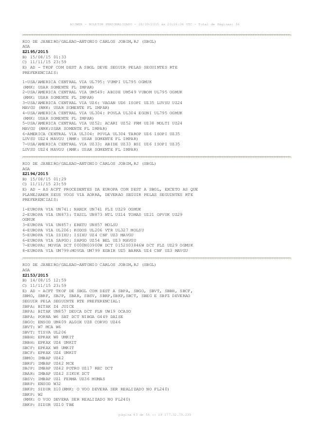 AISWEB - BOLETIM PERSONALIZADO - 28/09/2015 às 20:26:36 UTC - Total de Páginas: 56 página 43 de 56 :: IP 177.32.79.239 RIO...