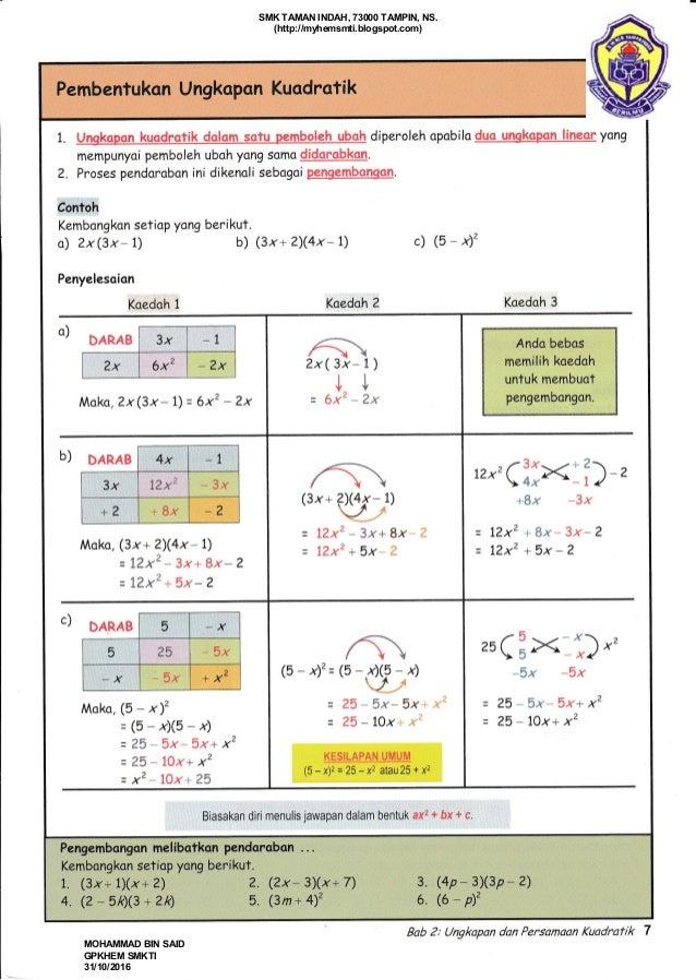 Nota Matematik Tingkatan 4