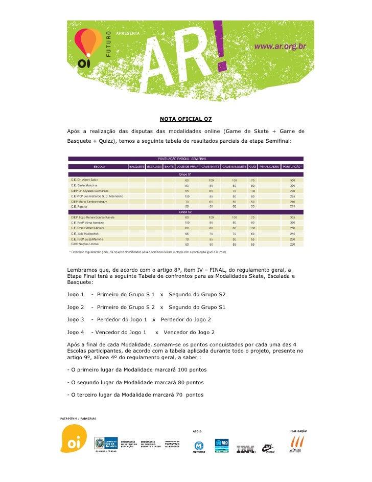 NOTA OFICIAL O7  Após a realização das disputas das modalidades online (Game de Skate + Game de Basquete + Quizz), temos a...