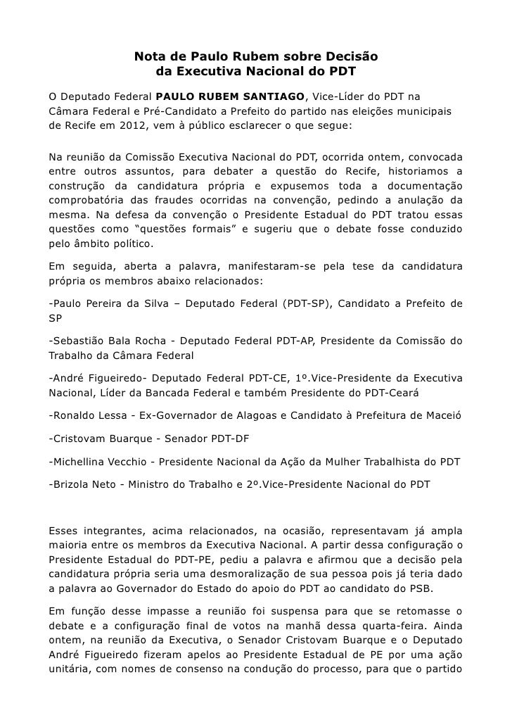 Nota de Paulo Rubem sobre Decisão                   da Executiva Nacional do PDTO Deputado Federal PAULO RUBEM SANTIAGO, V...