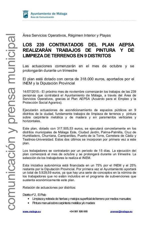 comunicaciónyprensamunicipal Área Servicios Operativos, Régimen Interior y Playas LOS 239 CONTRATADOS DEL PLAN AEPSA REALI...