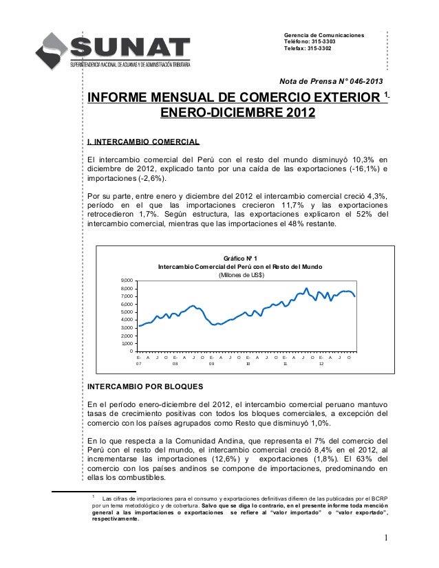 Gerencia de Comunicaciones Teléfono: 315-3303 Telefax: 315-3302 Nota de Prensa N° 046-2013 INFORME MENSUAL DE COMERCIO EXT...