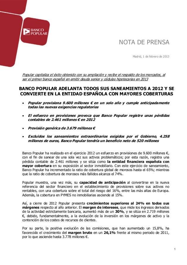 NOTA DE PRENSA                                                                          Madrid, 1 de febrero de 2013 Popul...