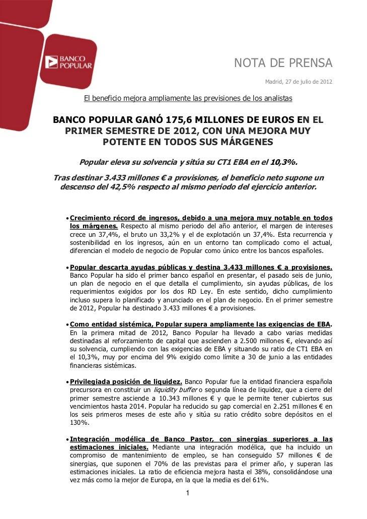 NOTA DE PRENSA                                                                       Madrid, 27 de julio de 2012         E...