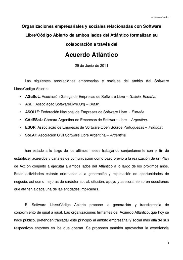 Acuerdo Atlántico       Organizaciones empresariales y sociales relacionadas con Software        Libre/Código Abierto de a...