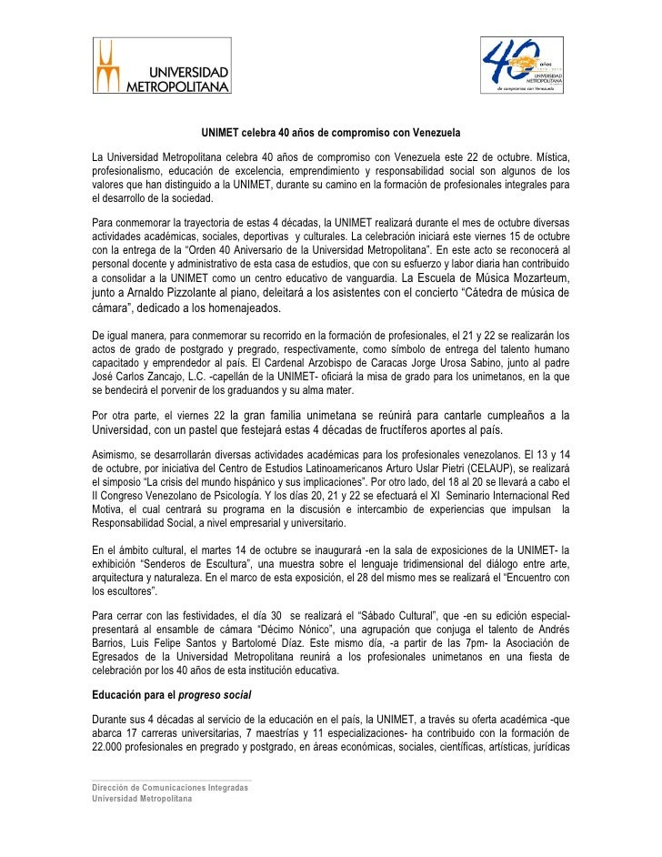 UNIMET celebra 40 años de compromiso con Venezuela  La Universidad Metropolitana celebra 40 años de compromiso con Venezue...