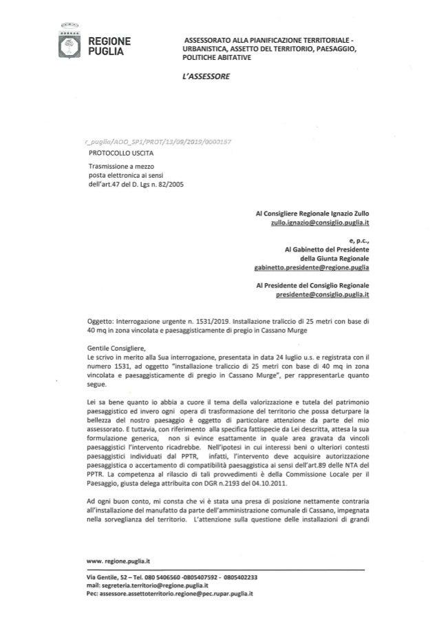 Risposa Pisicchio a Ignazio Zullo