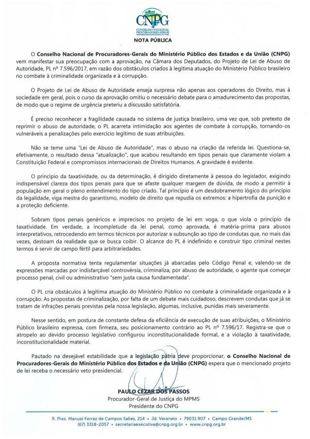 ~CONSELHO NACIONAL PROCURADORES-GERAIS Mt.'ólS'TUJOMIXOPOSUTADOllDA l.'!<W.O NOTA PÚBUCA O Conselho Nacional de Procurador...