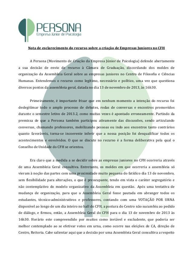 Nota de esclarecimento do recurso sobre a criação de Empresas Juniores no CFH A Persona (Movimento de Criação da Empresa J...