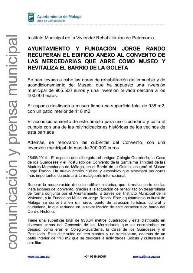 comunicaciónyprensamunicipal Instituto Municipal de la Vivienda/ Rehabilitación de Patrimonio AYUNTAMIENTO Y FUNDACIÓN JOR...