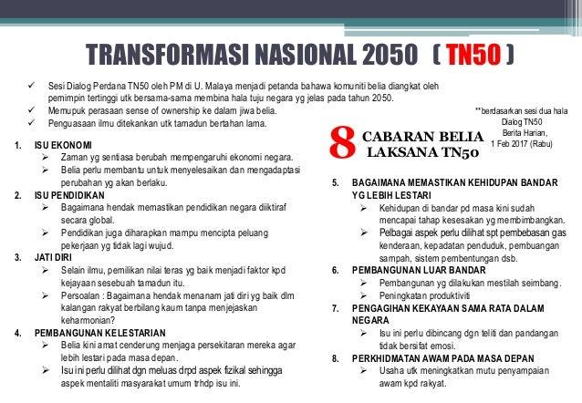 Ciri Ciri Utama Transformasi Nasional 2050 Tn50 Ialah