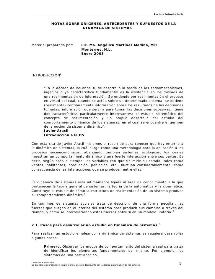 Lectura introductoria                      NOTAS SOBRE ORIGENES, ANTECEDENTES Y SUPUESTOS DE LA                           ...
