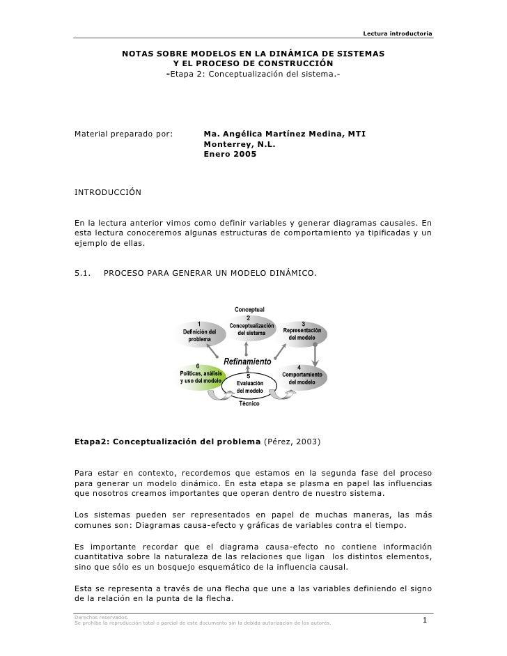 Lectura introductoria                     NOTAS SOBRE MODELOS EN LA DINÁMICA DE SISTEMAS                             Y EL ...