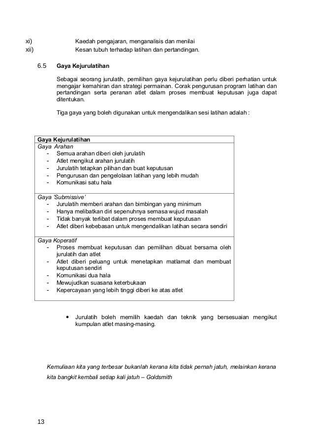 xi)                     Kaedah pengajaran, menganalisis dan menilaixii)                    Kesan tubuh terhadap latihan da...
