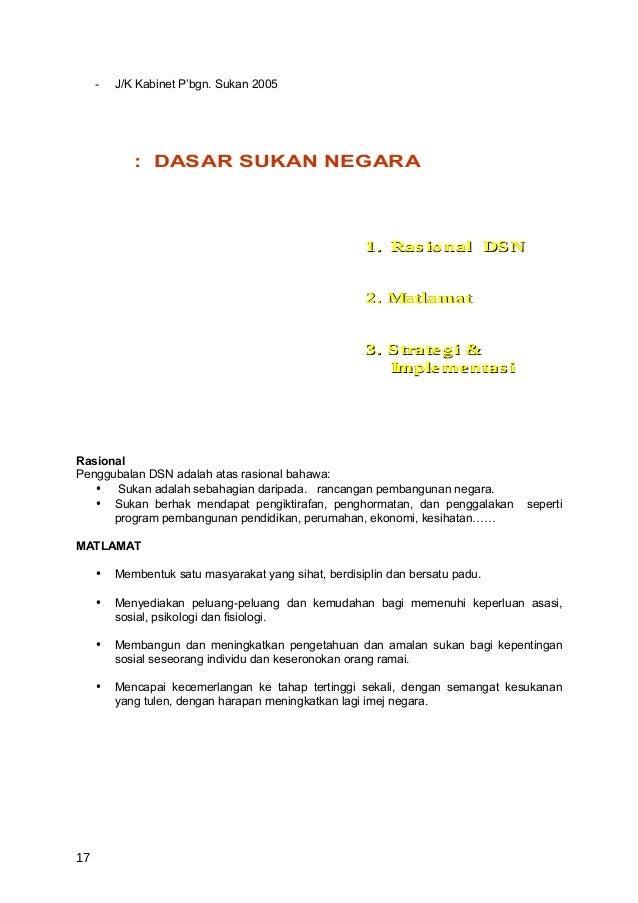 -   J/K Kabinet P'bgn. Sukan 2005             : DASAR SUKAN NEGARA                                                      1....