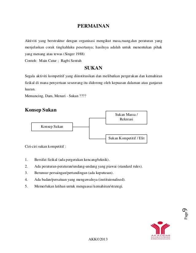 AKK©2013 Page9 PERMAINAN Aktiviti yang berstruktur dengan organisasi mengikut masa,ruang,dan peraturan yang menjelaskan co...