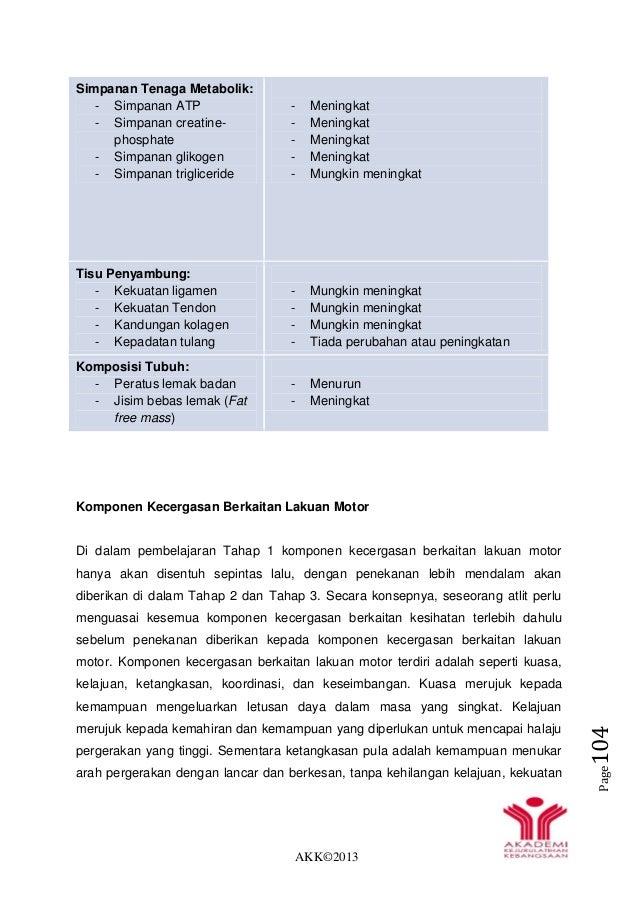 AKK©2013 Page104 Simpanan Tenaga Metabolik: - Simpanan ATP - Simpanan creatine- phosphate - Simpanan glikogen - Simpanan t...