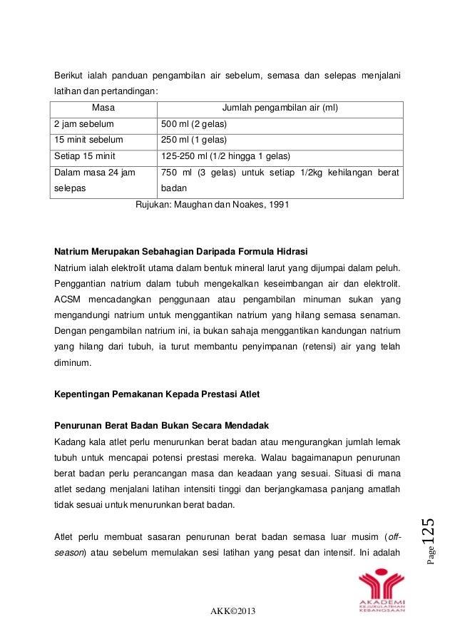AKK©2013 Page125 Berikut ialah panduan pengambilan air sebelum, semasa dan selepas menjalani latihan dan pertandingan: Mas...