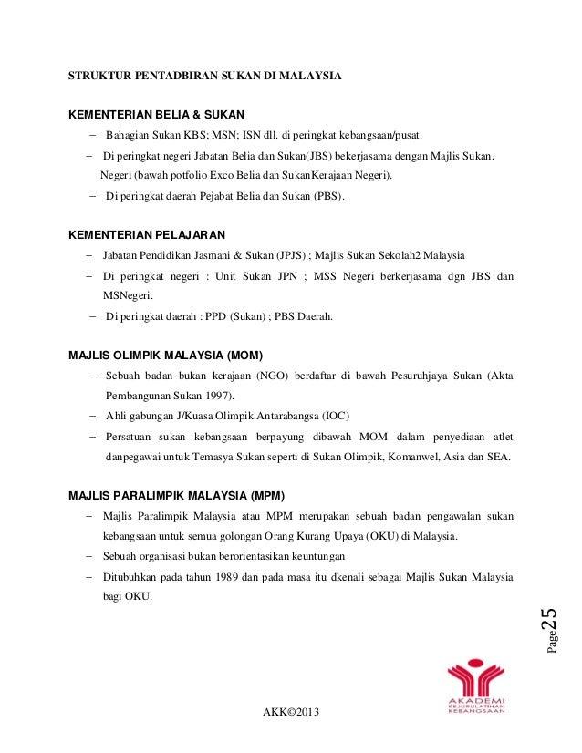 AKK©2013 Page25 STRUKTUR PENTADBIRAN SUKAN DI MALAYSIA KEMENTERIAN BELIA & SUKAN  Bahagian Sukan KBS; MSN; ISN dll. di pe...