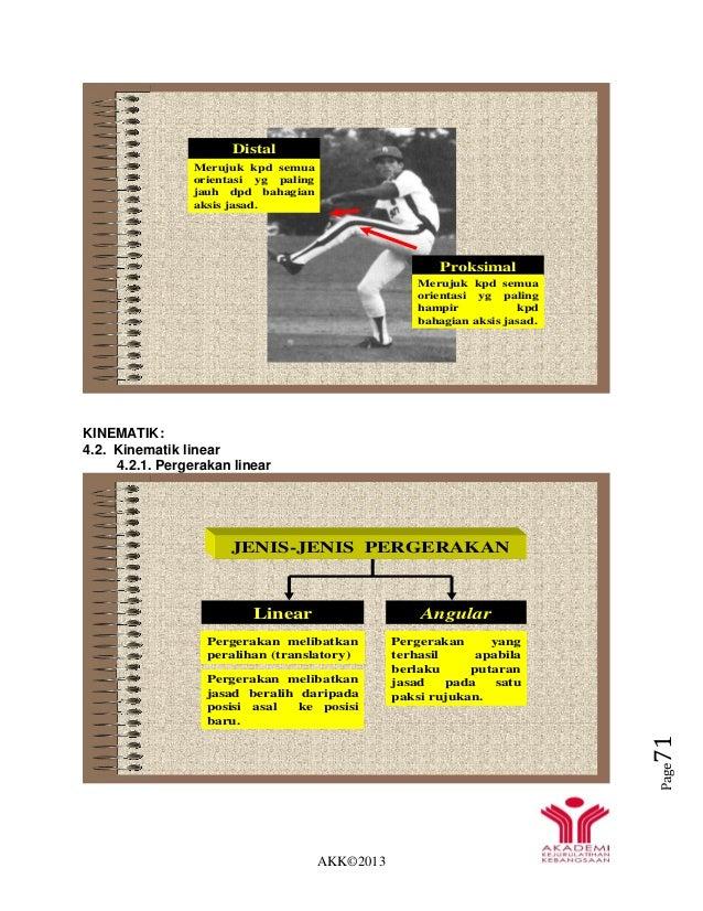 AKK©2013 Page71 KINEMATIK: 4.2. Kinematik linear 4.2.1. Pergerakan linear Proksimal Merujuk kpd semua orientasi yg paling ...