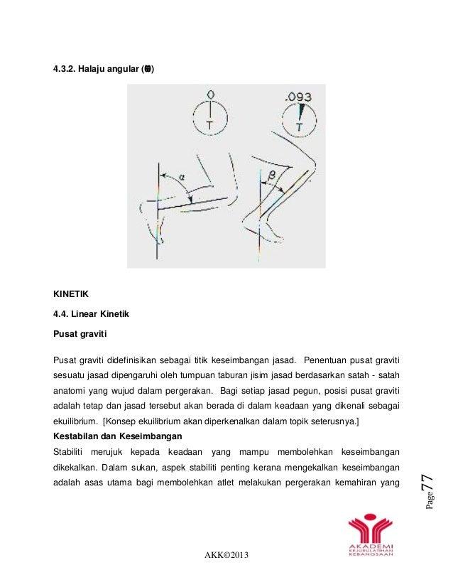 AKK©2013 Page77 4.3.2. Halaju angular (Ѡ) KINETIK 4.4. Linear Kinetik Pusat graviti Pusat graviti didefinisikan sebagai ti...