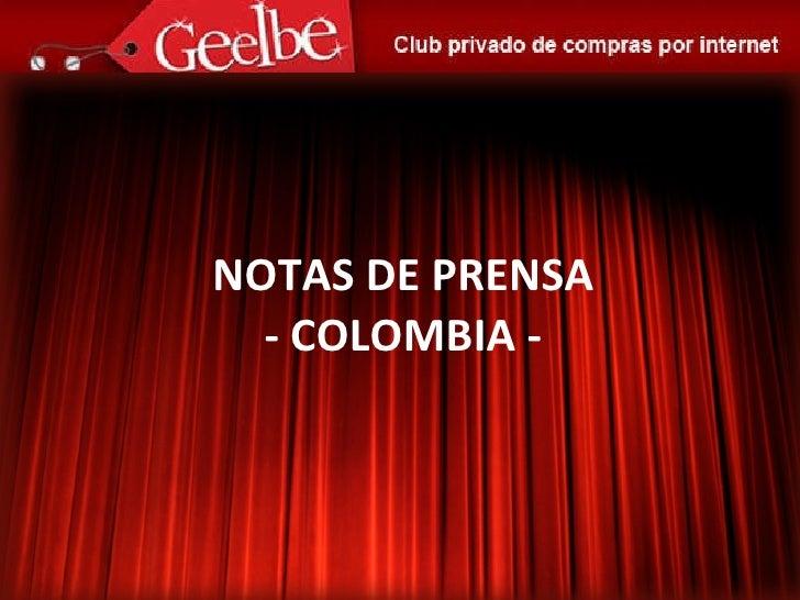 NOTAS DE PRENSA - COLOMBIA -
