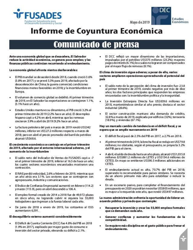 Estudios Económicos DEC Mayo de 2019 Informe de Coyuntura Económica Ante una economía global que se desacelera, El Salvado...