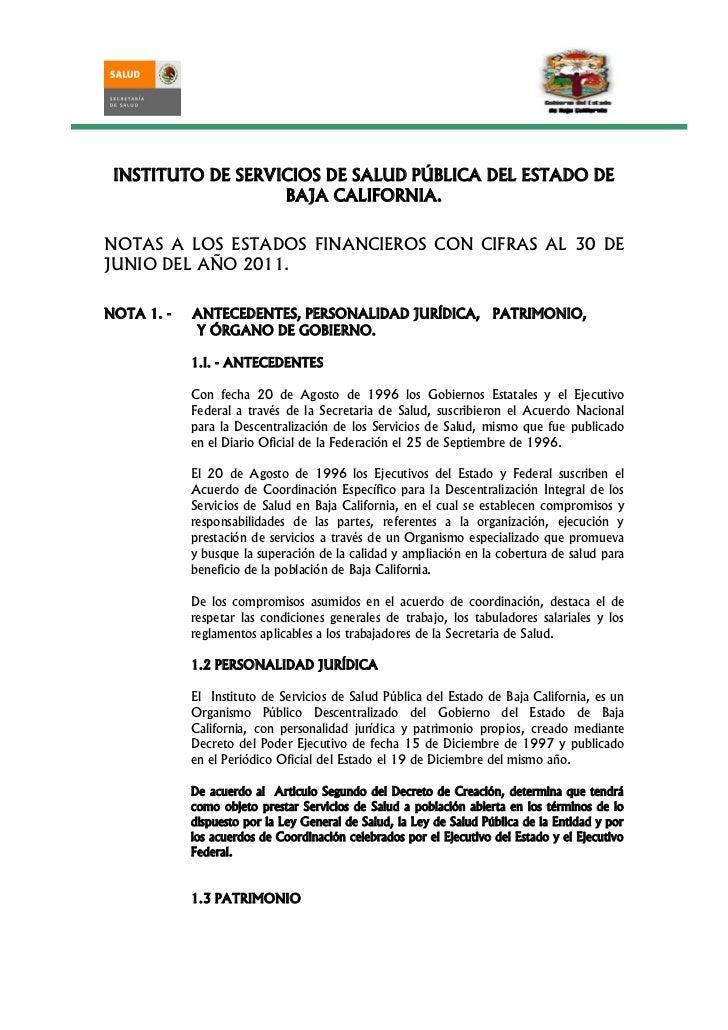 INSTITUTO DE SERVICIOS DE SALUD PÚBLICA DEL ESTADO DE                   BAJA CALIFORNIA.NOTAS A LOS ESTADOS FINANCIEROS CO...